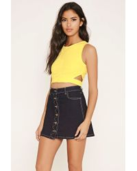 Forever 21 | Yellow Embroidered Mesh Crop Top | Lyst
