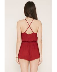 Forever 21 - Red Crochet-paneled Cami Playsuit - Lyst