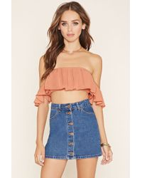 Forever 21 - Multicolor Off-the-shoulder Crepe Crop Top - Lyst