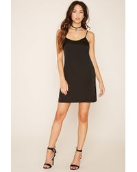 Forever 21 - Black Satin Slip Dress - Lyst