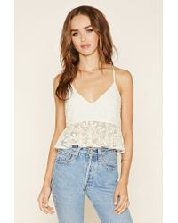 Forever 21 | Natural Floral Lace Peplum Cami | Lyst