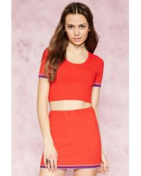 Forever 21 | Red Stripe-trim Ribbed Crop Top | Lyst