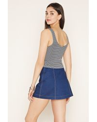 Forever 21 - Black Striped Crop Top - Lyst