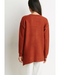 Forever 21 - Brown Contemporary Oversized V-neck Sweater - Lyst