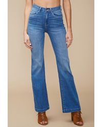 Forever 21 - Blue High-waisted Wide-leg Jeans - Lyst