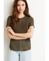Forever 21 | Green Contemporary Heathered Dolphin Hem Tee | Lyst