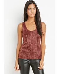 Forever 21 | Purple Contemporary Metallic Ribbed Knit Top | Lyst