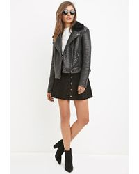 Forever 21 - Black Faux Leather Moto Jacket - Lyst
