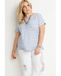 Forever 21 | Blue Plus Size Cuff Marled Top | Lyst