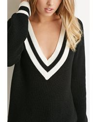 Forever 21 - Black Varsity Stripe V-neck Sweater - Lyst
