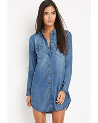 Forever 21 - Blue Contemporary Shirt Dress - Lyst