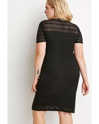 Forever 21 | Black Plus Size Shadow Stripe Dress | Lyst