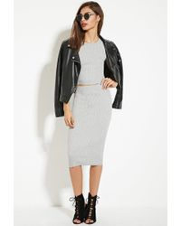 Forever 21 - Gray Ribbed Midi Sweater Skirt - Lyst
