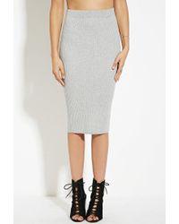 Forever 21 - Gray Ribbed Midi Sweater Skirt - Lyst