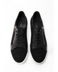 Forever 21 - Black Faux Suede Zippered Sneakers - Lyst
