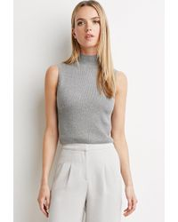 Forever 21 | Gray Contemporary Mock Neck Top | Lyst