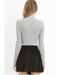 Forever 21 - Gray Contemporary Mock Neck Ribbed Sweater - Lyst