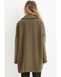Forever 21 - Green Longline Wool-blend Coat - Lyst