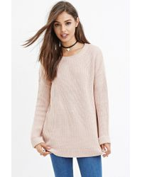 Forever 21 | Pink Longline Chunky Knit Sweater | Lyst