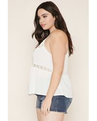 Forever 21 - White Plus Size Lace-paneled Cami - Lyst