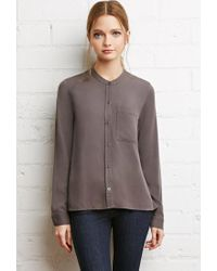 Forever 21 - Gray Collarless Buttoned Shirt - Lyst