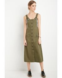 Forever 21 - Green Midi Overall Dress - Lyst