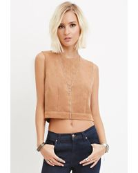 Forever 21 | Natural Boxy Faux Suede Top | Lyst