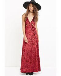 Forever 21 | Red Crushed Velvet Maxi Dress | Lyst
