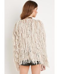 Forever 21 - Natural Fringed Open-knit Cardigan - Lyst