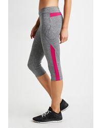 Forever 21 | Gray Heathered Colorblock Capri Leggings | Lyst