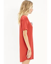 Forever 21 | Red Lace-up Shift Dress | Lyst