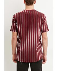 Forever 21 - Purple Striped Cotton Tee for Men - Lyst