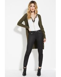 Forever 21 | Green Longline Ribbed Knit Cardigan | Lyst