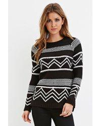 Forever 21 | Black Chevron-patterned Raglan Sweater | Lyst