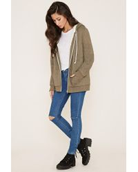 Forever 21 - Green Zippered Plush Hoodie - Lyst