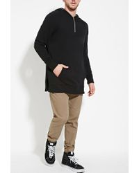 Forever 21 - Black 's Side-slit Hoodie for Men - Lyst