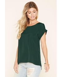 Forever 21 | Green Classic Cuffed-sleeve Top | Lyst