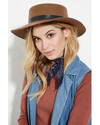 Forever 21 - Brown Wide-brim Wool Boater Hat - Lyst