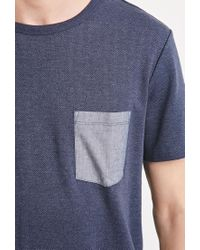 Forever 21 - Blue Herringbone Pattern Tee for Men - Lyst