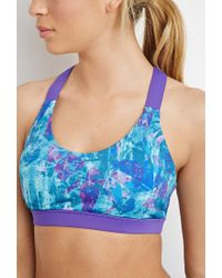 Forever 21 - Blue Medium Impact - Abstract Sports Bra You've Been Added To The Waitlist - Lyst