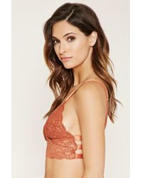 Forever 21 - Red Caged Ornate Lace Bralette - Lyst