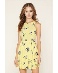 Forever 21 | Yellow Floral Fit And Flare Dress | Lyst