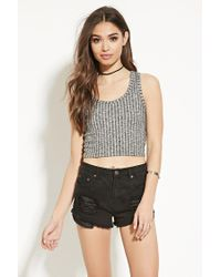 Forever 21 | Gray Ribbed Crop Top | Lyst