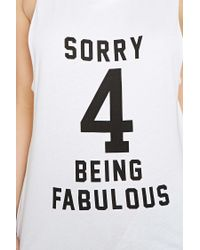 Forever 21 - Black Fabulous Graphic Cutout Tank - Lyst