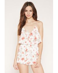 Forever 21 | White Floral Flounce-layered Playsuit | Lyst