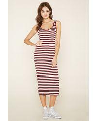 Forever 21 | Natural Striped Midi Dress | Lyst