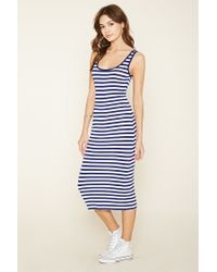 Lyst Forever 21 Striped Midi Dress In Blue
