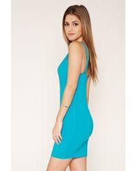 Forever 21 - Blue Plunging V-neck Sheath Dress - Lyst