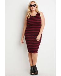 Forever 21 - Purple Plus Size Striped Midi Dress - Lyst