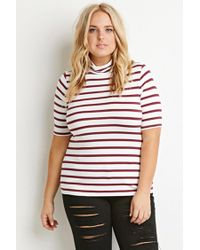 Forever 21 - Purple Striped Turtleneck Top - Lyst